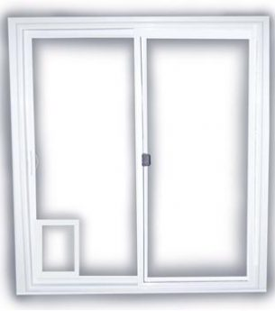 Sliding Doors with Pet Door by Premium Windows and Doors